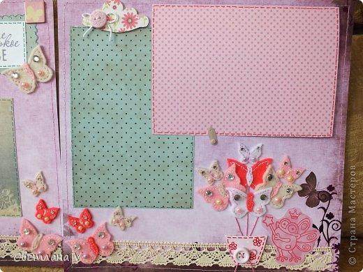 Альбом для маленькой девочки - первый год, переплет Виноградовой, обложка хлопок с синтепоном. Очень много фетра и кружева)) фото 22
