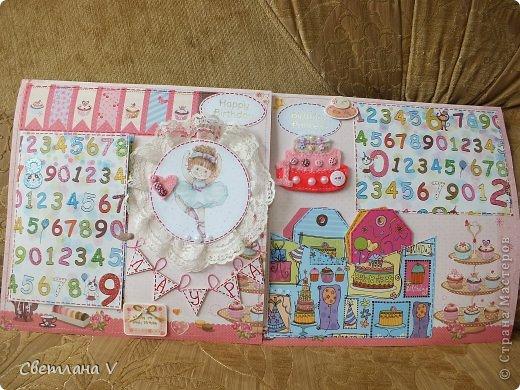 Альбом для маленькой девочки - первый год, переплет Виноградовой, обложка хлопок с синтепоном. Очень много фетра и кружева)) фото 29
