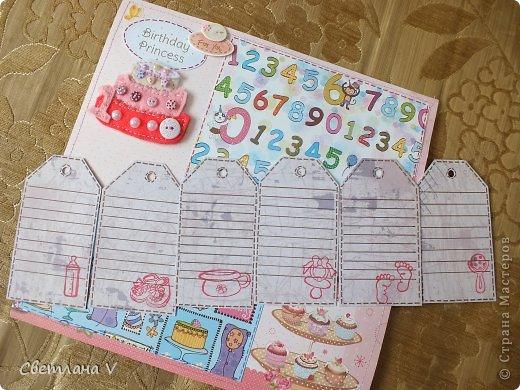 Альбом для маленькой девочки - первый год, переплет Виноградовой, обложка хлопок с синтепоном. Очень много фетра и кружева)) фото 32