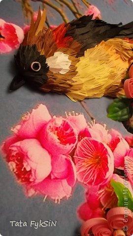 Получилась невиданная птица Очень захотелось подарить  доброму и хорошему человеку на день рождение  И за два денечка получилось вот такая весенняя картиночка К нам прилетели сегодня соловьи и кукушки Очень много птичек поет Скворцы скоро птенцов выведут Так все радуются солнышку   Теперь будет теплее и теплее Спасибо   Наталья Цибина   и Лариса Литвиненко что дают возможность по их МК попробовать сделать что то и самим фото 2