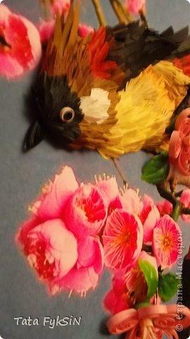 Получилась невиданная птица Очень захотелось подарить  доброму и хорошему человеку на день рождение  И за два денечка получилось вот такая весенняя картиночка К нам прилетели сегодня соловьи и кукушки Очень много птичек поет Скворцы скоро птенцов выведут Так все радуются солнышку   Теперь будет теплее и теплее Спасибо   Наталья Цибина   и Лариса Литвиненко что дают возможность по их МК попробовать сделать что то и самим фото 5