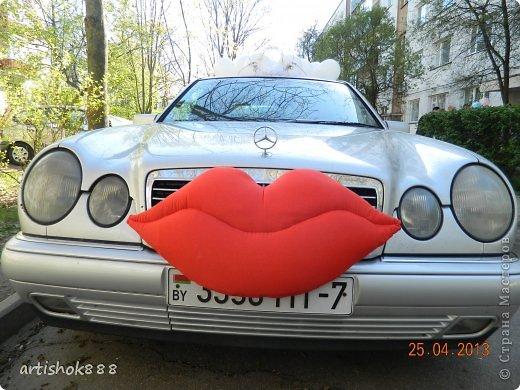 Губы на свадебную машину. Можно использовать также как декоративную подушку или в подарок. фото 9