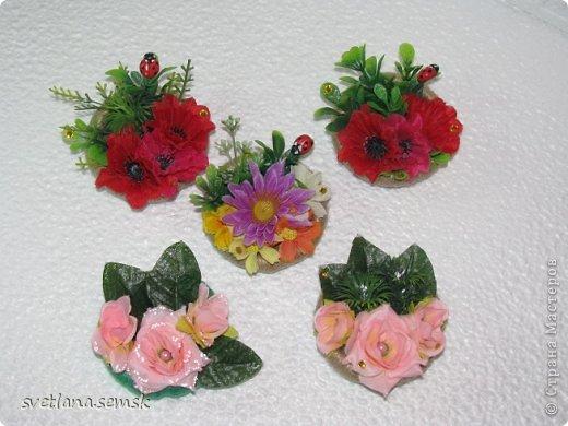 Решила выложить свои магнитики (те что успела сфотать) Первые - летние, цветочные. фото 1