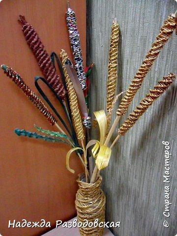Мастер-класс. Спиральное плетение вокруг каркаса.( Из соломки, газетных трубочек, картонных полосок) фото 3