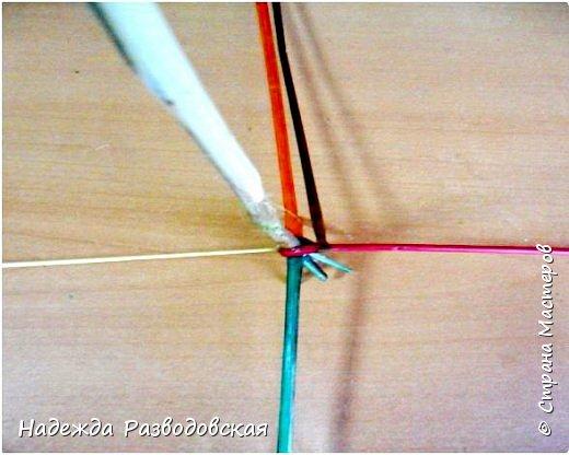 Мастер-класс. Спиральное плетение вокруг каркаса.( Из соломки, газетных трубочек, картонных полосок) фото 10