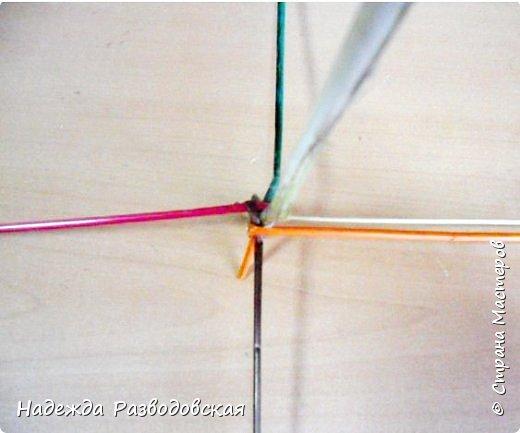 Мастер-класс. Спиральное плетение вокруг каркаса.( Из соломки, газетных трубочек, картонных полосок) фото 13