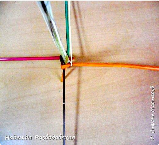 Мастер-класс. Спиральное плетение вокруг каркаса.( Из соломки, газетных трубочек, картонных полосок) фото 14