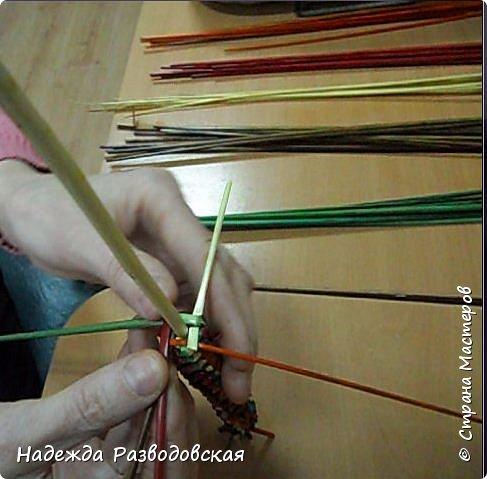 Мастер-класс. Спиральное плетение вокруг каркаса.( Из соломки, газетных трубочек, картонных полосок) фото 20
