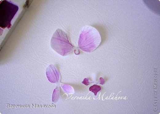 Хочу предложить вашему вниманию несложный мастер-класс по изготовлению декоративного элемента - цветок орхидеи. Он может быть центральным элементом, например, открытки или альбома. Он сам по себе выглядит очень роскошным и подарит неповторимость вашей работе :) фото 6