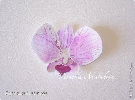 Хочу предложить вашему вниманию несложный мастер-класс по изготовлению декоративного элемента - цветок орхидеи. Он может быть центральным элементом, например, открытки или альбома. Он сам по себе выглядит очень роскошным и подарит неповторимость вашей работе :) фото 8