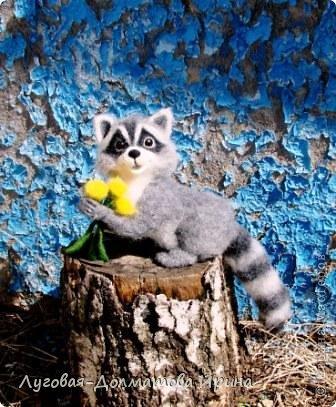 Пушистый, словно одуванчик,  в тельняшке, будто морячок.  Он симпатяшка, милый мальчик  среди травы, как маячок.  Зовут все ласково енотик,  он этому конечно рад.  Он толстенький, как бегемотик  и засыпает в листопад.   © Copyright: Любовь Постникова фото 1
