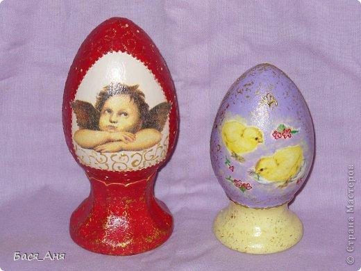 Пасха прошла, и я наконец-то выкроила пару свободных минут чтобы поделиться с СМ своими новыми работами.                                                                                  Эта парочка яиц керамические, высота красного яйца около 17 см. фиолетовое прим. 12 см. фото 3