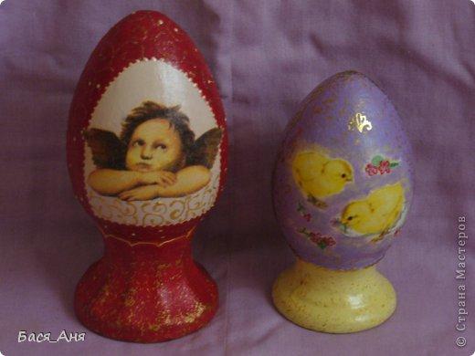 Пасха прошла, и я наконец-то выкроила пару свободных минут чтобы поделиться с СМ своими новыми работами.                                                                                  Эта парочка яиц керамические, высота красного яйца около 17 см. фиолетовое прим. 12 см. фото 4