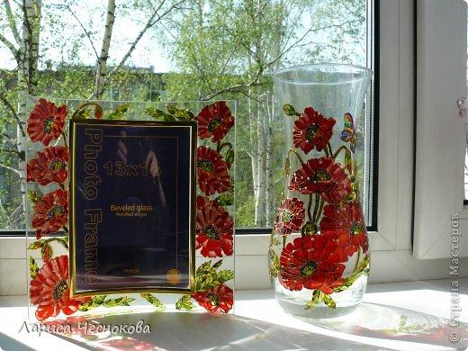 p1340323 Вазы, кувшины. Витражная роспись по стеклу.