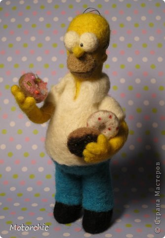 """Сегодня я к вам с """"человеческой"""" работой из шерсти, - Гомером Симсоном, героем мультфильма. фото 5"""
