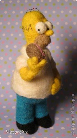 """Сегодня я к вам с """"человеческой"""" работой из шерсти, - Гомером Симсоном, героем мультфильма. фото 22"""