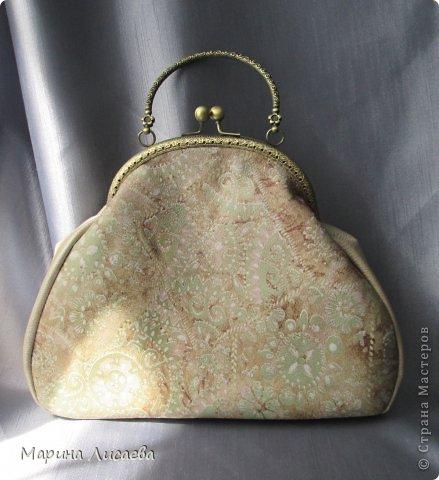 Моя первая сумочка из кожи с фермуаром фото 2