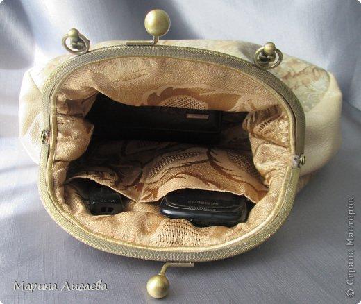 Моя первая сумочка из кожи с фермуаром фото 5