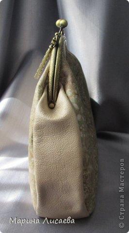 Моя первая сумочка из кожи с фермуаром фото 3