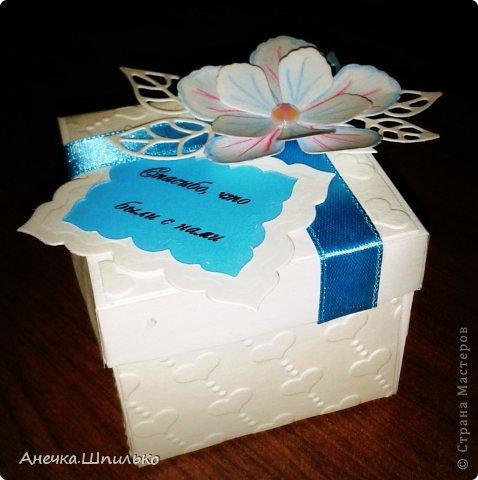 Такая получилась у меня коробочка на бирюзовую свадьбу.Подскажите что не так. фото 2