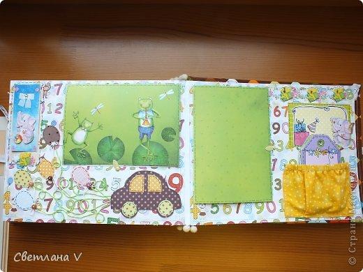 Альбом для мальчика, вмещает около 40 фото, обложка из картона, обтянутого хлопком с прослойкой из синтепона, переплет по МК Виноградовой. Оччень нравится ткань, сочетания цветов) фото 22
