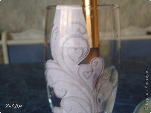 Декор предметов Мастер-класс Свадьба Роспись Точки на бокале фото 6