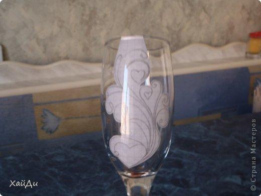 Декор предметов Мастер-класс Свадьба Роспись Точки на бокале фото 7
