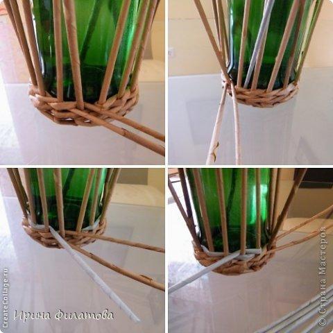 Мастер-класс Поделка изделие Плетение Наряжаем бутылочку   Бумага газетная Бутылки стеклянные Трубочки бумажные фото 16