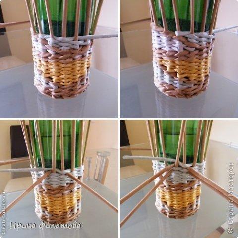 Мастер-класс Поделка изделие Плетение Наряжаем бутылочку   Бумага газетная Бутылки стеклянные Трубочки бумажные фото 22