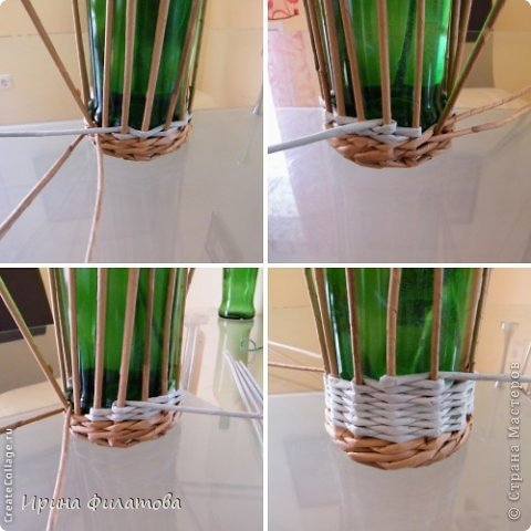 Мастер-класс Поделка изделие Плетение Наряжаем бутылочку   Бумага газетная Бутылки стеклянные Трубочки бумажные фото 17