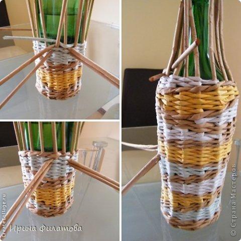 Мастер-класс Поделка изделие Плетение Наряжаем бутылочку   Бумага газетная Бутылки стеклянные Трубочки бумажные фото 23