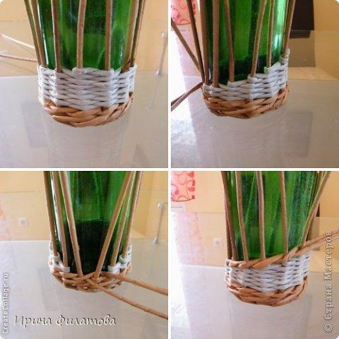 Мастер-класс Поделка изделие Плетение Наряжаем бутылочку   Бумага газетная Бутылки стеклянные Трубочки бумажные фото 18