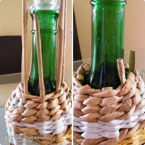 Мастер-класс Поделка изделие Плетение Наряжаем бутылочку   Бумага газетная Бутылки стеклянные Трубочки бумажные фото 25