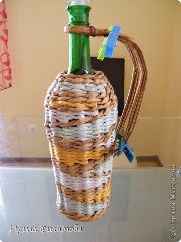 Мастер-класс Поделка изделие Плетение Наряжаем бутылочку   Бумага газетная Бутылки стеклянные Трубочки бумажные фото 29