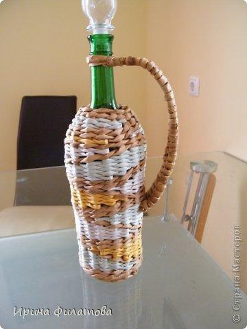 Мастер-класс Поделка изделие Плетение Наряжаем бутылочку   Бумага газетная Бутылки стеклянные Трубочки бумажные фото 33