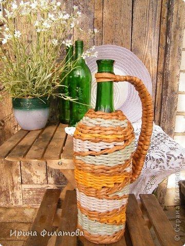 Мастер-класс Поделка изделие Плетение Наряжаем бутылочку   Бумага газетная Бутылки стеклянные Трубочки бумажные фото 2