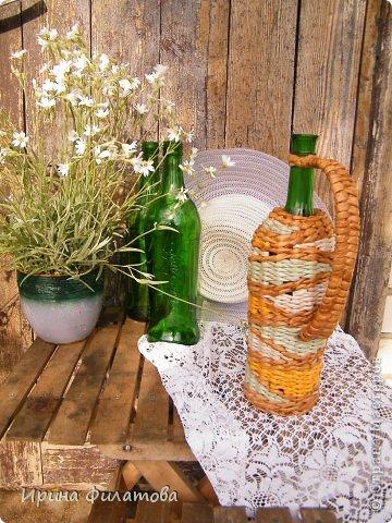 Мастер-класс Поделка изделие Плетение Наряжаем бутылочку   Бумага газетная Бутылки стеклянные Трубочки бумажные фото 4