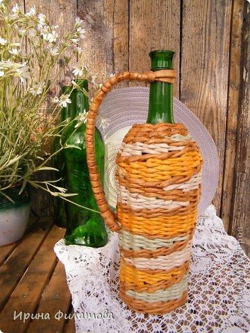 Мастер-класс Поделка изделие Плетение Наряжаем бутылочку   Бумага газетная Бутылки стеклянные Трубочки бумажные фото 1
