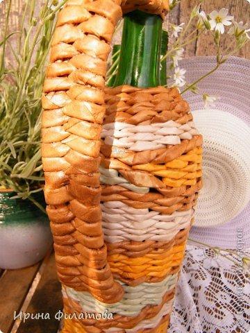 Мастер-класс Поделка изделие Плетение Наряжаем бутылочку   Бумага газетная Бутылки стеклянные Трубочки бумажные фото 6