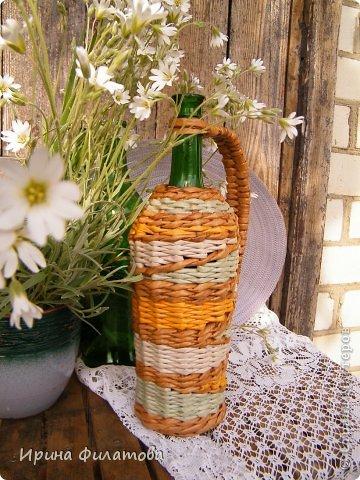 Мастер-класс Поделка изделие Плетение Наряжаем бутылочку   Бумага газетная Бутылки стеклянные Трубочки бумажные фото 11