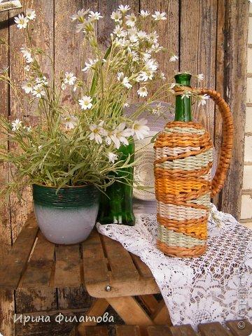 Мастер-класс Поделка изделие Плетение Наряжаем бутылочку   Бумага газетная Бутылки стеклянные Трубочки бумажные фото 34
