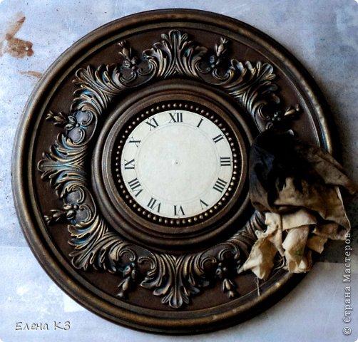 """Дорогие жители СМ! Представляю Вам мою новую работу """"Старинные часы или Антикварная лавка"""" и небольшой МК по окислению поверхности акриловой краской. фото 12"""