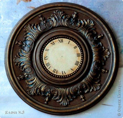 """Дорогие жители СМ! Представляю Вам мою новую работу """"Старинные часы или Антикварная лавка"""" и небольшой МК по окислению поверхности акриловой краской. фото 13"""