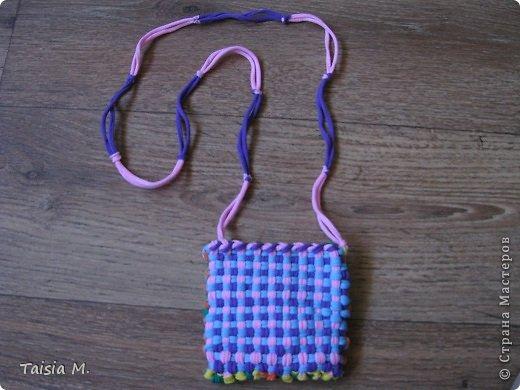 Сумочка из резинок (это был набор для творчества в который входили специальный станок для плетения и резинки).