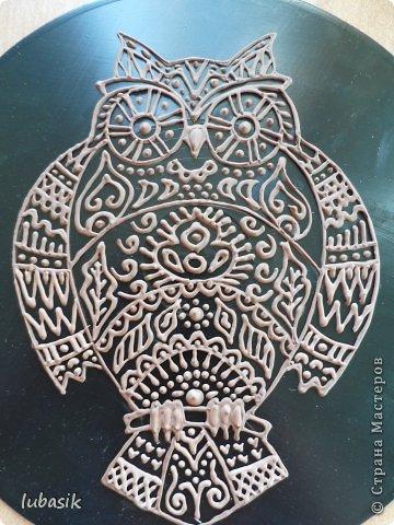 """Когда я выставила в прошлом посту панно в """"бронзе"""" http://stranamasterov.ru/node/771283#comment-10850215 , многие мастерицы попросили рассказать, как я его сделала. Выполняю просьбу. Чтобы сделать МК, пришлось делать другое панно. Решила сделать совушку - символ мудрости. фото 30"""