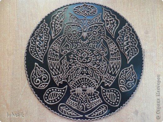 """Когда я выставила в прошлом посту панно в """"бронзе"""" http://stranamasterov.ru/node/771283#comment-10850215 , многие мастерицы попросили рассказать, как я его сделала. Выполняю просьбу. Чтобы сделать МК, пришлось делать другое панно. Решила сделать совушку - символ мудрости. фото 32"""