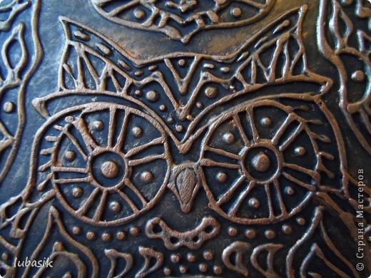 """Когда я выставила в прошлом посту панно в """"бронзе"""" http://stranamasterov.ru/node/771283#comment-10850215 , многие мастерицы попросили рассказать, как я его сделала. Выполняю просьбу. Чтобы сделать МК, пришлось делать другое панно. Решила сделать совушку - символ мудрости. фото 3"""