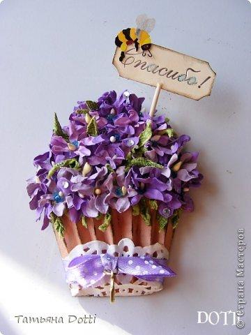 Скрапбукинг Ассамбляж Скрап-магнитик Цветочный кекс Бумага фото 1