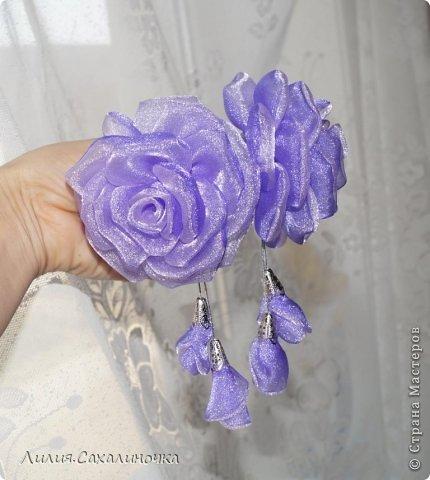 Мастер-класс Украшение Гильоширование Мастер-класс Розы из органзы Ленты Ткань фото 30