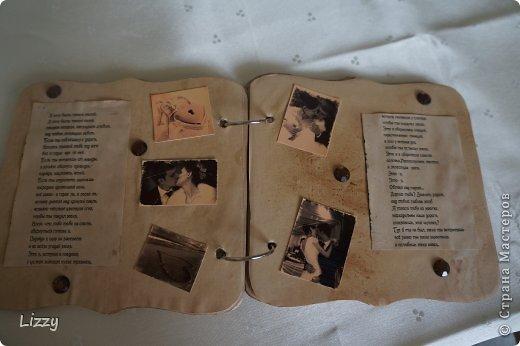 Был сделан моему мужу в подарок на день рождения. Альбом готовый, бумага офисная, вымочена в кофе. После проутюжена, распечатаны стихи. фото 3